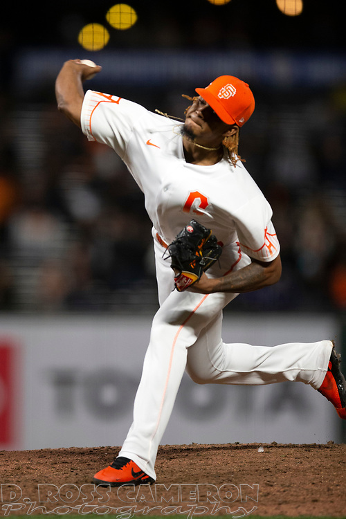 San Francisco Giants pitcher Camilo Doval (75) delivers a pitch against the Arizona Diamondbacks during the ninth inning of a baseball game, Tuesday, Sept. 28, 2021, in San Francisco. The Giants defeated the Diamondbacks 6-4. (AP Photo/D. Ross Cameron)