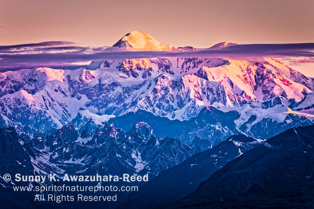Close up of Mt. Denali (McKinley) south face at sunrise. Denali National Park, Southcentral Alaska, Summer.