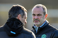 Hibernian FC assistant head coach, John Potter (right) speaks with Hibernian FC manager, Jack Ross during the training session for Hibernian FC at the Hibs Training Centre, Ormiston, Scotland on 26 February 2021, ahead of the SPFL Premiership match against Motherwell.