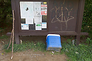 """Vernon, New Jersey - A cooler of """"Trail Magic"""" and hiking poles at the Appalachian Trail on the way to Wawayanda Mountain on Sept. 22, 2012."""