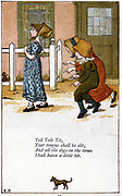 Tell tale tit/Your tongue shall be slit: Illustration by Kate Greenaway (1846-1901) for a book of nursery rhymes. Chromolithograph