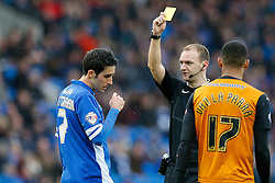 Peter Whittingham of Cardiff City is shown a yellow card by referee Robert Madley - Photo mandatory by-line: Rogan Thomson/JMP - 07966 386802 - 28/02/2015 - SPORT - FOOTBALL - Cardiff, Wales - Cardiff City Stadium - Cardiff City v Wolverhampton Wanderers - Sky Bet Championship.