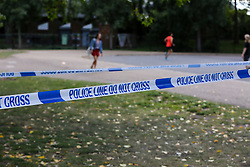 © Licensed to London News Pictures. 21/07/2020. London, UK. Crime scene in Finsbury Park, north London, following triple stabbings. Police officers were called at 2.51pm to reports of stabbings and assault in Finsbury Park, north London. It has been reported that a group of men, who were intoxicated were involved in a fight. One man has been arrested. Photo credit: Dinendra Haria/LNP