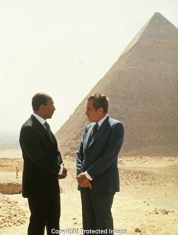 President Richard Nixon and President Anwar Sadat near Cairo in June 1974,..Photograph by Dennis Brack bb30