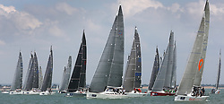 Brewin Dolphin Scottish Series 2014, the start of an International IRC competition racing on the Solent off Cowes and hosted by the RORC.<br /> <br /> Race 2 Start with Team Scotland,  Swan 45, Eala of Rhu.<br /> <br /> Credit.  Marc Turner