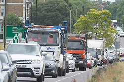 ©Licensed to London News Pictures 02/07/2020     <br /> Blackheath, UK. Traffic on the A2, Shooters Hill Road, Blackheath Common, London today. Roads around London are starting to get back to normal  as the Coronavirus lockdown is eased. Photo credit: Grant Falvey/LNP