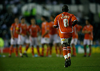Photo: Steve Bond.<br />Derby County v Blackpool. Carling Cup. 28/08/2007. Adrian Forbes jogs back to his team mates