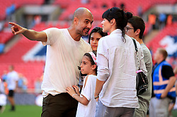 Manchester City manager Josep Guardiola with his family wife Cristina Serra and children Valentina Guardiola, Maria Guardiola and Marius Guardiola after the Community Shield match at Wembley Stadium, London.