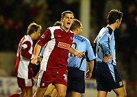 Photograph: Scott Heavey.<br />Walsall v Bradord City. Nationwide Division One. 06/12/2003.<br />Gary Birch celebrates his and the only goal of the game