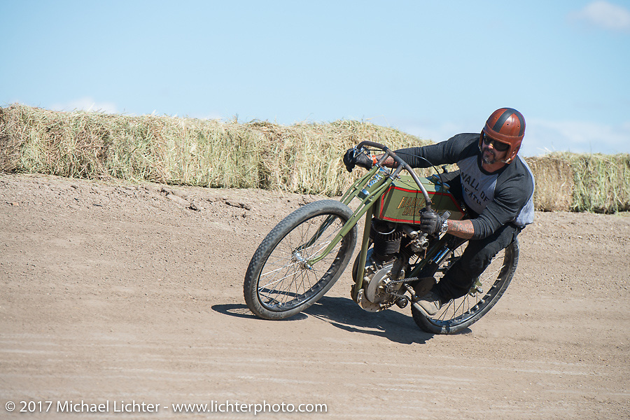 Billy Lane on his 1919 Harley-Davidson in the Sons of Speed banked dirt oval racing at the Full Throttle Saloon during the annual Sturgis Black Hills Motorcycle Rally. Sturgis, SD. USA. Thursday August 10, 2017. Photography ©2017 Michael Lichter.