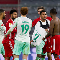 21.11.2020, Allianz Arena, Muenchen, GER,  FC Bayern Muenchen SV Werder Bremen <br /> <br /> <br />  im Bild Felix Agu (SV Werder Bremen #17) tauscht mit David Alaba (FCB #27) trikot mit Josh Sargent (SV Werder Bremen #19) <br /> <br /> <br /> <br /> Foto © nordphoto / Straubmeier / Pool/ <br /> <br /> DFL regulations prohibit any use of photographs as image sequences and / or quasi-video.