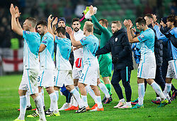 Players of Slovenia celebrate after the football match between National teams of Slovenia and England in Round #3 of FIFA World Cup Russia 2018 Qualifier Group F, on October 11, 2016 in SRC Stozice, Ljubljana, Slovenia. Photo by Vid Ponikvar / Sportida