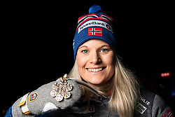February 22, 2019 - Seefeld In Tirol, AUSTRIA - 190222 Bronze medalist Mari Eide of Norway poses for a picture with her medal after the medal ceremony for women´s cross-country skiing sprint during the FIS Nordic World Ski Championships on February 22, 2019 in Seefeld in Tirol..Photo: Joel Marklund / BILDBYRÃ…N / kod JM / 87883 (Credit Image: © Joel Marklund/Bildbyran via ZUMA Press)