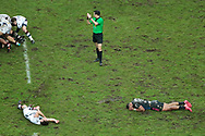 Waisea Nayacalevu Vuidravuwalu (Stade Francais) and Geoffrey Cros (Union Bordeaux-Begles) hurted and lie down on the playground during the French championship Top 14 Rugby Union match between Stade Francais Paris and Union Bordeaux-Begles on December 30, 2017 at Jean Bouin stadium in Paris, France - Photo Stephane Allaman / ProSportsImages / DPPI