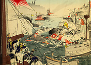 The Battle of the Yalu River was the largest naval engagement of the First Sino-Japanese War, and took place on 17 September 1894, the day after the Japanese victory at the land Battle of Pyongyang. It involved ships from the Imperial Japanese Navy and the Chinese Beiyang Fleet. The battle is also known by a variety of names: Battle of Haiyang Island, Battle of Dadonggou, Battle of the Yellow Sea and Battle of Yalu. From the book 'Scenes from the Japan-China War' by Inouye, Jukichi, 1862-1929; Yamamoto, Eiki, illustrator. Published in Tokyo in 1895 with English Text. The First Sino-Japanese War (25 July 1894 – 17 April 1895) was a conflict between the Qing dynasty of China and the Empire of Japan primarily over influence in Joseon Korea. After more than six months of unbroken successes by Japanese land and naval forces and the loss of the port of Weihaiwei, the Qing government sued for peace in February 1895.