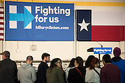 A crowd gathers to hear democratic presidential candidate Hillary Clinton speak at Mountain View College in Dallas, Texas.  (Photo by Cooper Neill for The Texas Tribune)