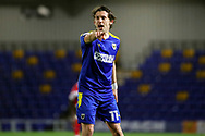 AFC Wimbledon midfielder Ethan Chislett (11) shouting and pointing during the EFL Sky Bet League 1 match between AFC Wimbledon and Gillingham at Plough Lane, London, United Kingdom on 23 February 2021.