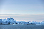 Scenic winter landscape with mountain range covered in snow, Arnes, Nordland, Norway