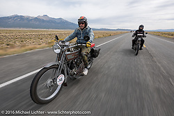 Master mechanic Ziggy Dee riding Sharon Jacob's 1915 HD during the Motorcycle Cannonball Race of the Century. Stage-10 ride from Pueblo, CO to Durango, CO. USA. Tuesday September 20, 2016. Photography ©2016 Michael Lichter.