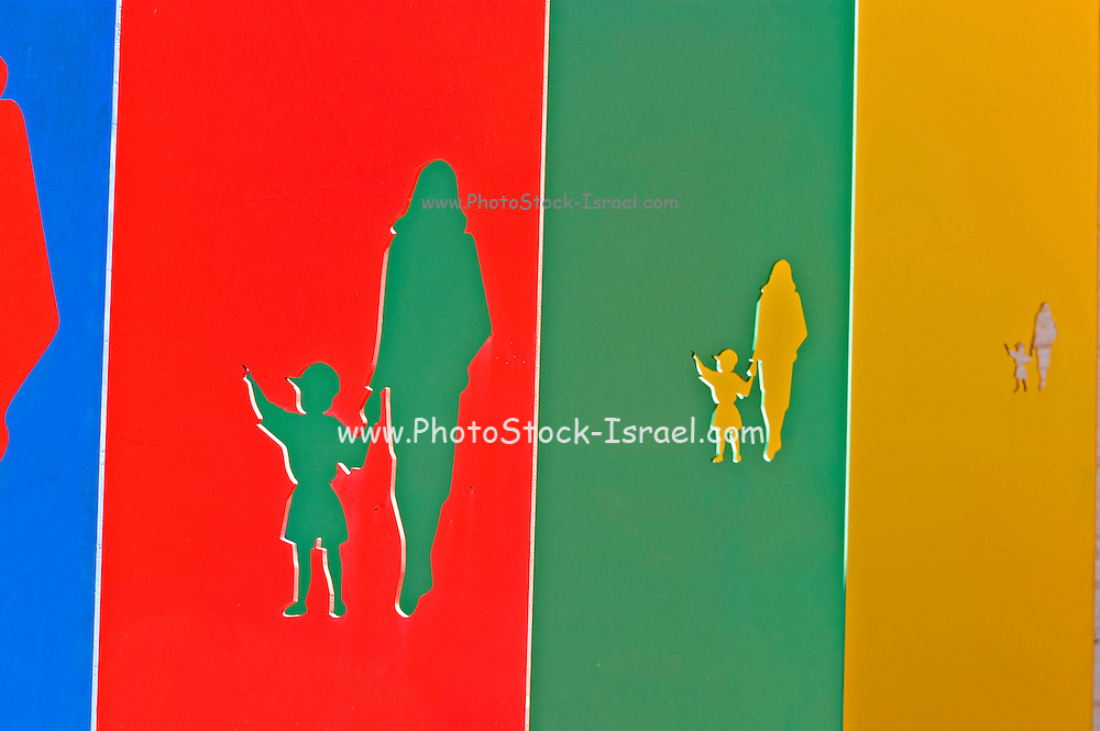 A graphic display of an adult walking with child while holding hands