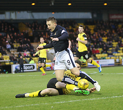 Falkirk's John Baird brought down by Livingston Ben Gordon for a penally claim. <br /> Livingston 1 v 1 Falkirk, Scottish Championship game at The Tony Macaroni Arena at 23/1/2016.