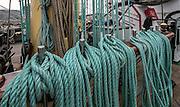 Gdynia, (woj. pomorskie) 17.08.2014. Zlot żaglowców w Gdyni. Na pokładzie żaglowca STS Kruzersztern.