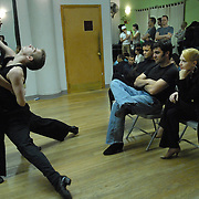 "Dancer and event producer Solomon Singer, second from right, watches dancers Bas Gill, far left, and Martijn Diependaal of the Netherlands .during a rehearsal for ""A Show Unlike Anything on Broadway!"" at Stepping Out Studios in Manhattan on May 2, 2007 in preparation for the 5 Boro Dance Challenge...The locally produced 5 Boro Dance Challenge, New York City's first same-sex dance competition, was held at the Park Central Hotel in Manhattan from May 4-6, 2007. ..The show was the entertainment presented in addition to the competition. ..With Singer are, dancer Jorge Guzman, left, and Singer's opposite sex country western dance partner Nell Mooney...."