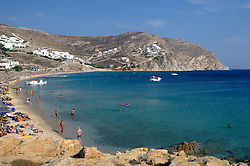 beautiful day at the beach in Mykonos, Greece