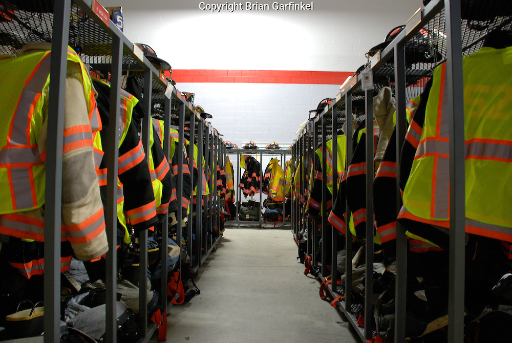Brookhaven, Pennsylvania - Firefighter's gear sits on the racks and is ready to be put into action in a moments notice