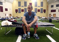 Kevin Sweet from Corpus Christi, Texas, USA, sits on his cot after taking shelter at the FEMA Dome after Harvey displaced him, on Wednesday, August 30, 2017, at Tulsa-Midway High School in Corpus Christi. Photo by Gabe Hernandez/Corpus Christi Caller-Times/TNS/ABACAPRESS.COM