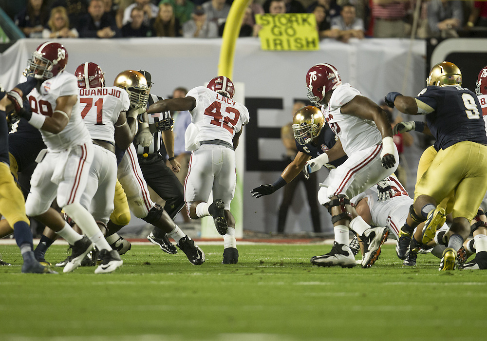 January 7, 2013:  during the Discover BCS National Championship between the Alabama Crimson Tide and the Notre Dame Fighting Irish at Sun Life Stadium in Miami Gardens, Florida.  Alabama defeated Notre Dame 42-14.