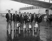 07/05/1976<br /> 05/07/1976<br /> 07 May 1976<br /> Irish Rugby team leave Dublin Airport for New Zealand Tour. The Munster members of the team (l-r): Moss Keane, Lansdowne (UCC); Brenden Foley, Shannon; Shay Deering, Garryowen; Kevin Quilligan, Manager, Limerick; Donal Canniffe, Lansdowne (UCC); Phil O'Callaghan, Dolphin; Pat Whelan, Garryowen; Larry Moloney, Garryowen and Barry McGann, Cork Constitution.