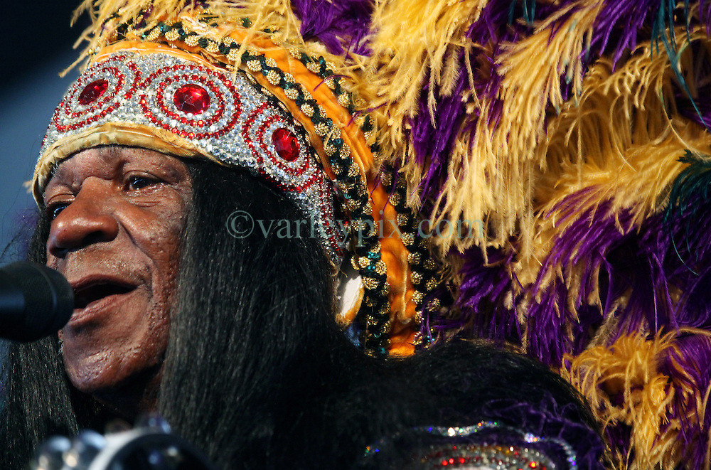 28 April 2012. New Orleans, Louisiana,  USA. .New Orleans Jazz and Heritage Festival. .Big Chief Monk Boudreaux of the Golden Eagles Mardi Gras Indians..Photo; Charlie Varley.