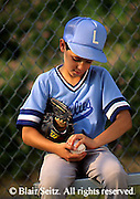 Outdoor recreation, Little League 12-year-old Boy and Father Work on Baseball Technique, Little Leaguer Signs Baseball