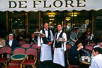 Waiters at Cafe de Flore, Boulevard St. Germain des Pres, Left Bank, Paris, France