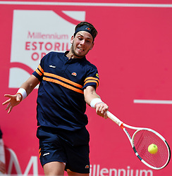 LISBON, May 4, 2018  Britain's Cameron Norrie returns the ball during second round match of Estoril Open Tennis tournament against Spain's Roberto Carballes Baena in Cascais, near Lisbon, Portugal, May 3, 2018. (Credit Image: © Zhang Liyun/Xinhua via ZUMA Wire)