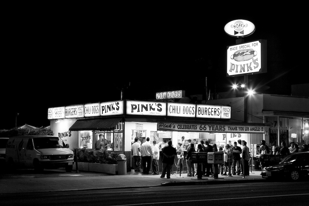 Pinks Hot Dog Stand, a family-owned hot dog stand since 1939, on North La Brea Avenue in Los Angeles, CA. (USA)