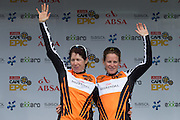 Ester Suss (left) and Sally Bigham (right) maintain the ladies leader jerseys after stage 3 of the 2014 Absa Cape Epic Mountain Bike stage race held from Arabella Wines in Robertson to The Oaks Estate in Greyton, South Africa on the 26 March 2014<br /> <br /> Photo by Greg Beadle/Cape Epic/SPORTZPICS