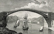 'Cast iron bridge over the Wear connecting Sunderland and Monkwearmouth. Built in 1796 by Walkers, the Rotherham iron founders, in association with Rowland Burdon, MP for Sunderland. Engraving 1801'