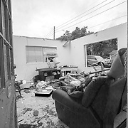 Damage is seen from an unconfirmed tornado that blew through the area Saturday evening in the SODO district of downtown Orlando, Florida on Sunday, June 7, 2020.  (Alex Menendez via AP)
