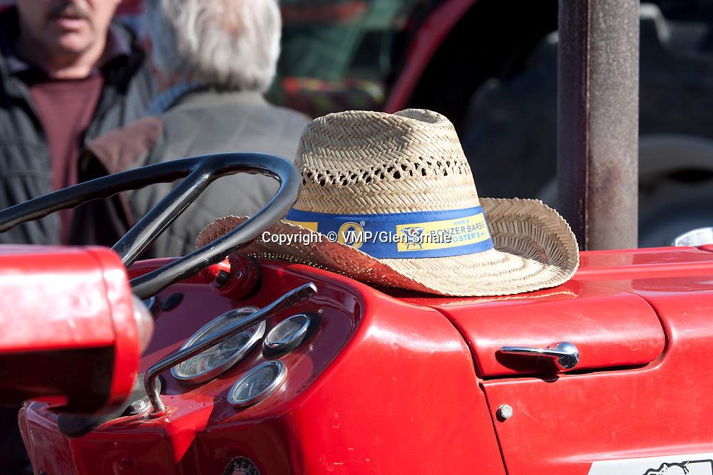 Taith Tractor Run, Hat on bonnet of Massey Ferguson 135, Llanllwni, Wales, 25 April 2011