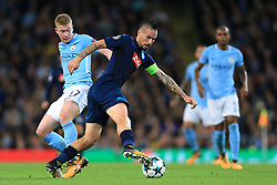 17th October 2017 - UEFA Champions League - Group F - Manchester City v Napoli - Kevin De Bruyne of Man City battles with Marek Hamsik of Napoli - Photo: Simon Stacpoole / Offside.