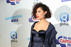 Raye on the red carpet of the the media run during Capital's Summertime Ball. The world's biggest stars perform live for 80,000 Capital listeners at Wembley Stadium at the UK's biggest summer party.