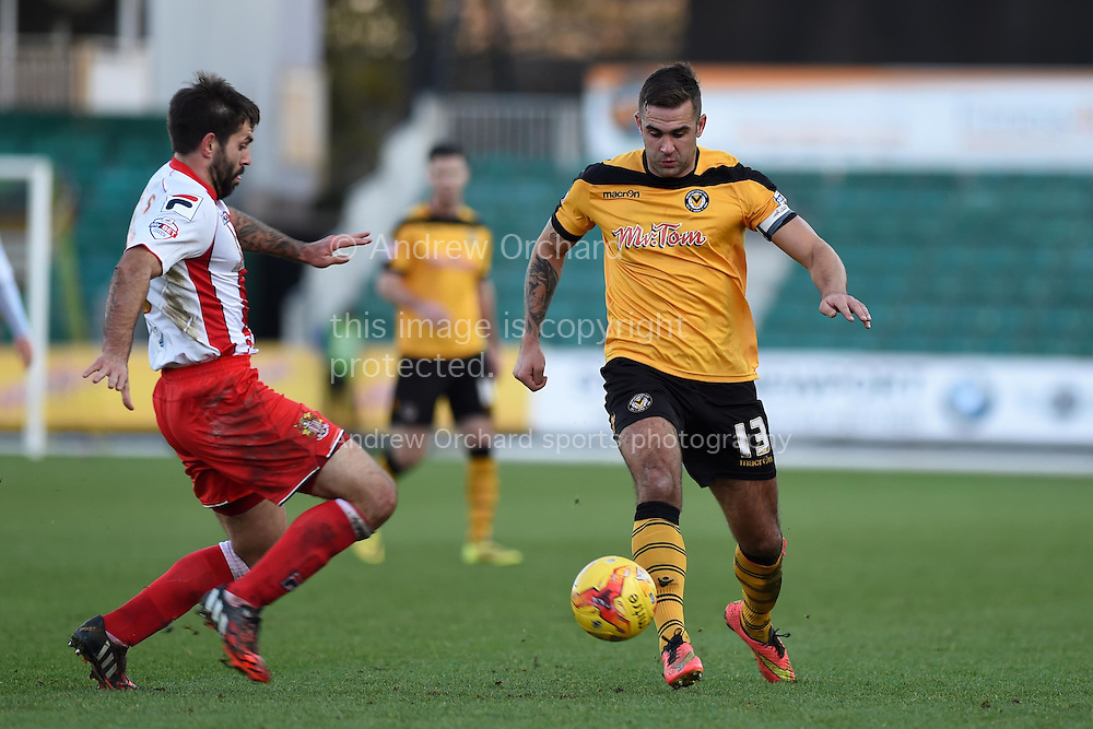 Andy Sandell of Newport county ® in action. Skybet football league two match, Newport county v Stevenage at Rodney Parade in Newport, South Wales on Saturday 13th December 2014<br /> pic by Andrew Orchard, Andrew Orchard sports photography.