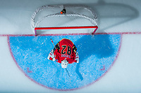 PENTICTON, CANADA - SEPTEMBER 8: Tyler Parsons #82 of Calgary Flames defends the net against the Edmonton Oilers on September 8, 2017 at the South Okanagan Event Centre in Penticton, British Columbia, Canada.  (Photo by Marissa Baecker/Shoot the Breeze)  *** Local Caption ***