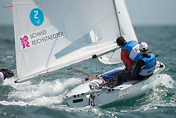 03.08.2012, Bucht von Weymouth, GBR, Olympia 2012, Segeln, im Bild Reichstaedter Florian, Schmid Matthias, (AUT, 470 Men) // during Sailing, at the 2012 Summer Olympics at Bay of Weymouth, United Kingdom on 2012/08/03. EXPA Pictures © 2012, PhotoCredit: EXPA/ Juerg Kaufmann ***** ATTENTION for AUT, CRO, GER, FIN, NOR, NED, POL, SLO and SWE ONLY!