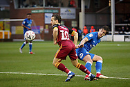 Peterborough United midfielder Alex Woodyard (4) and Bradford City midfielder Jack Payne (10) during  the The FA Cup 2nd round match between Peterborough United and Bradford City at London Road, Peterborough, England on 1 December 2018.