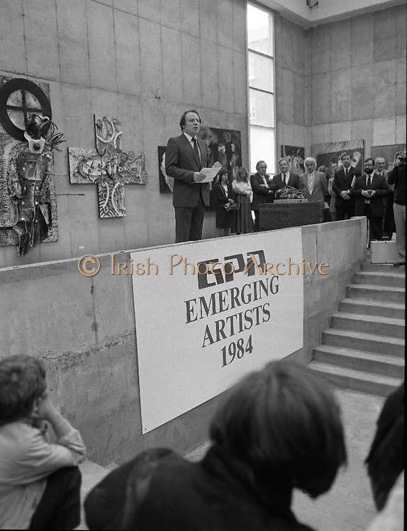 The G.P.A.awards for Emerging Artists..(Guinness Peat Aviation).1984..23.09.1984..09.23.1984..23rd September 1984..The award ceremony was held at The Royal Hibernian Academy of Arts,Gallagher Gallery,Ely Place,Dublin..Photo of Mr Ted Nealon TD,Minister for Arts and Culture,with a backdrop of fine art,as he addresses the audience.