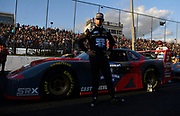 Hélio Castroneves during the debut race of Superstar Racing Experience (SRX) at Stafford Motor Speedway, Saturday, June 12, 2021 in Stafford, Conn. (AP Photo/Jessica Hill)
