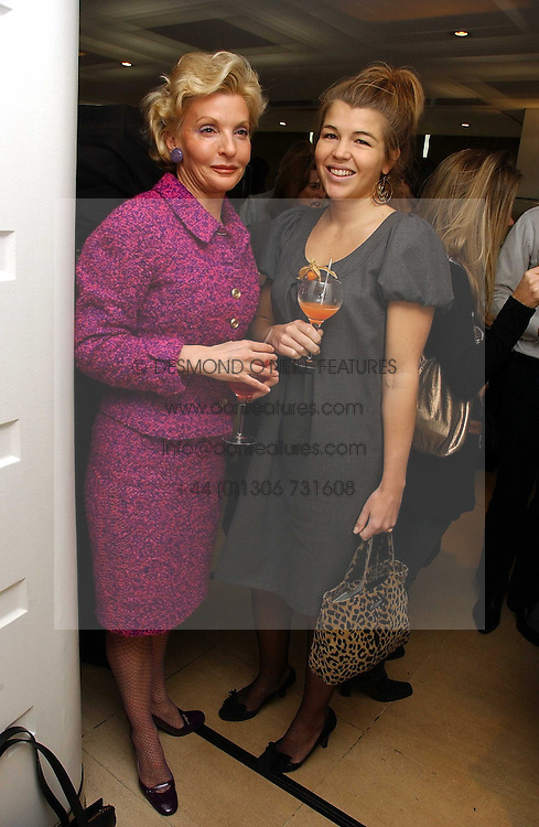 Left to right, WENDY COUNTESS OF CALEDON and AMBER NUTTALL at a lunch hosted by Fawaz Gruosi to celebrate the launch of De Grisogono's latest watch 'Be Eight' held at Nobu, 19 Old Park Lane, London W1 on 30th November 2006.<br /><br />NON EXCLUSIVE - WORLD RIGHTS